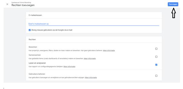 Google Analytics gebruiker toevoegen stap 5
